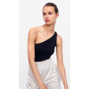 Zara Black Asymmetric Bodysuit
